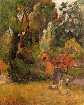 Paul Gauguin Painting - Huts under Trees Post Impressionism Primitivism Paul Gauguin