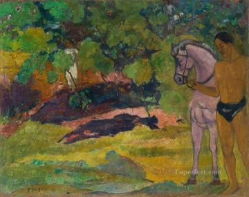horse racing Painting - In the Vanilla Grove Man and Horse Paul Gauguin