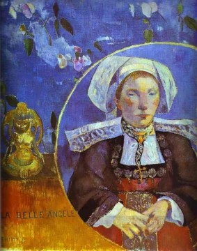 Paul Gauguin Painting - La Belle Angele Portrait of Madame Satre Post Impressionism Primitivism Paul Gauguin