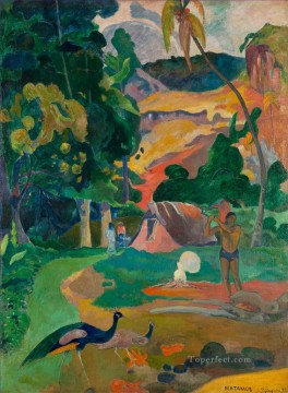 Paul Gauguin Painting - Matamoe Landscape with Peacocks Post Impressionism Primitivism Paul Gauguin