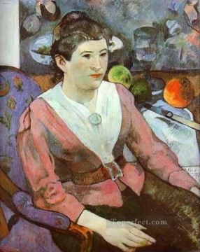 Paul Gauguin Painting - Portrait of a Woman with Cezanne Still Life Post Impressionism Primitivism Paul Gauguin