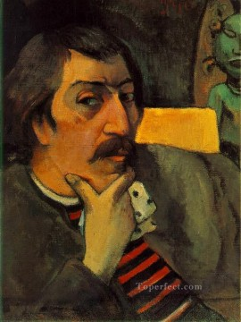 portrait - Portrait of the Artist with the Idol Post Impressionism Primitivism Paul Gauguin