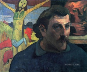 portrait - Self Portrait with Yellow Christ Post Impressionism Primitivism Paul Gauguin