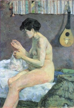 Paul Gauguin Painting - Study of a Nude Suzanne Sewing Post Impressionism Primitivism Paul Gauguin