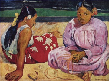 Paul Gauguin Painting - Tahitian Women On the Beach Post Impressionism Primitivism Paul Gauguin