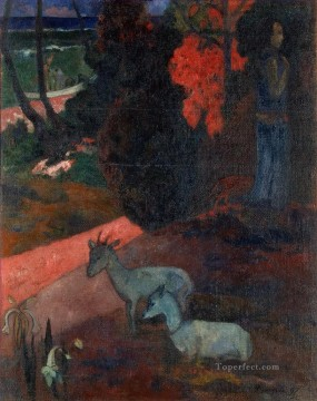 Paul Gauguin Painting - Tarari maruru Landscape with Two Goats Post Impressionism Primitivism Paul Gauguin