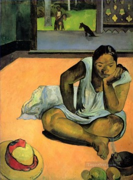 Paul Gauguin Painting - Te Faaturuma Brooding Woman Post Impressionism Primitivism Paul Gauguin