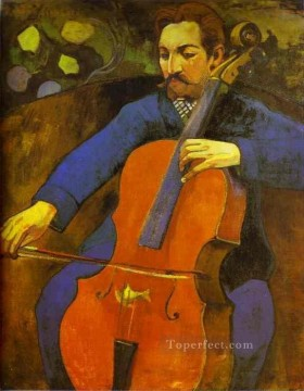 Paul Gauguin Painting - The Cellist Portrait of Upaupa Scheklud Post Impressionism Primitivism Paul Gauguin