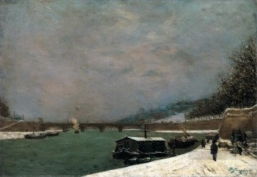 The Seine at the Pont d Iena Snowy Weather Post Impressionism Primitivism Paul Gauguin Oil Paintings