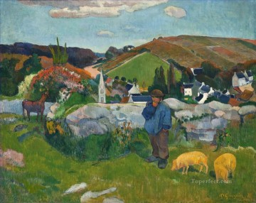 Wine Painting - The Swineherd Brittany Post Impressionism Primitivism Paul Gauguin