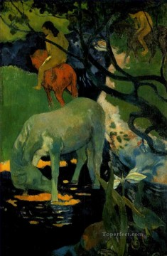 Paul Gauguin Painting - The White Horse Post Impressionism Primitivism Paul Gauguin