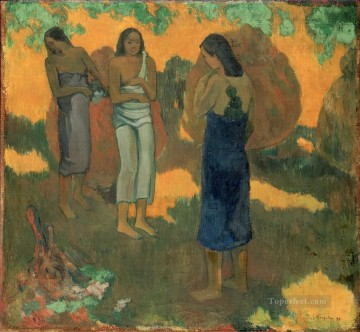 Three Tahitian Women Against a Yellow Background Post Impressionism Primitivism Paul Gauguin Oil Paintings