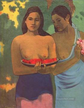 women Painting - Two Tahitian Women With Mango Flowers Paul Gauguin