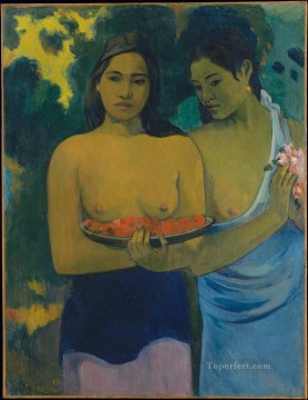 Two Tahitian Women with Mango Blossoms Post Impressionism Primitivism Paul Gauguin Oil Paintings