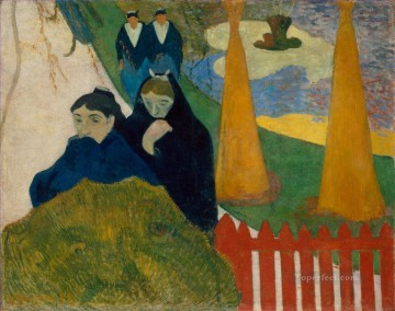 garden Oil Painting - Women from Arles in the Public Garden the Mistral Post Impressionism Paul Gauguin
