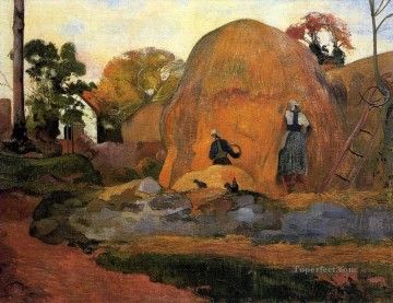 Paul Gauguin Painting - Yellow Hay Ricks Fair Harvest Post Impressionism Primitivism Paul Gauguin