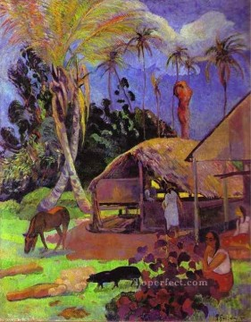Paul Gauguin Painting - Black Pigs Post Impressionism Primitivism Paul Gauguin