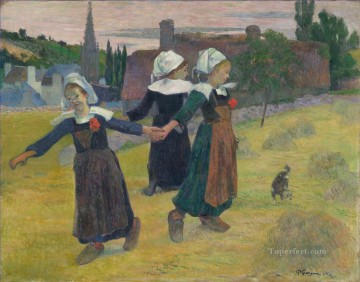 Dancing Art - Breton Girls Dancing Pont Aven Post Impressionism Primitivism Paul Gauguin