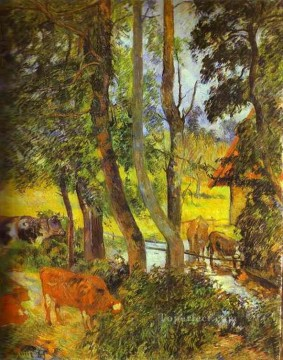 drinking - Cattle Drinking Post Impressionism Primitivism Paul Gauguin