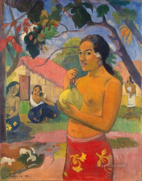 Paul Gauguin Painting - Eu haere ia oe Woman Holding a Fruit Post Impressionism Primitivism Paul Gauguin