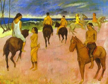 horse Art Painting - Horsemen on the Beach Post Impressionism Primitivism Paul Gauguin