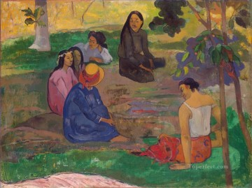 Les Parau Parau Conversation Post Impressionism Primitivism Paul Gauguin Oil Paintings