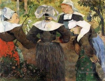 Girls Canvas - The Four Breton Girls c Post Impressionism Primitivism Paul Gauguin
