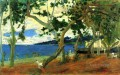 The harbor of Saint Pierre seen from the cove Turin or Seashore Martinique Paul Gauguin scenery