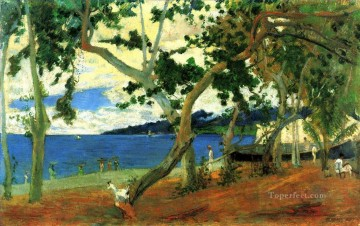 The harbor of Saint Pierre seen from the cove Turin or Seashore Martinique Paul Gauguin scenery Oil Paintings
