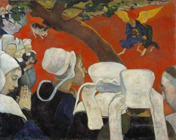 Paul Gauguin Painting - Vision after the Sermon Jacob Wrestling with the Angel Post Impressionism Paul Gauguin
