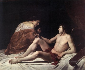 Orazio Gentileschi Painting - Cupid And Psyche Baroque painter Orazio Gentileschi
