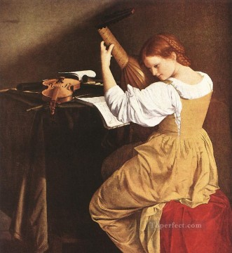 Orazio Gentileschi Painting - Lute Player Baroque painter Orazio Gentileschi