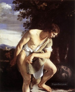 Orazio Gentileschi Painting - David Contemplating The Head Of Goliath Baroque painter Orazio Gentileschi