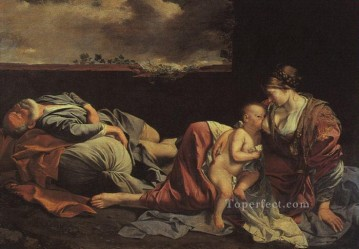 Rest Painting - Rest On The Flight Into Egypt Baroque painter Orazio Gentileschi