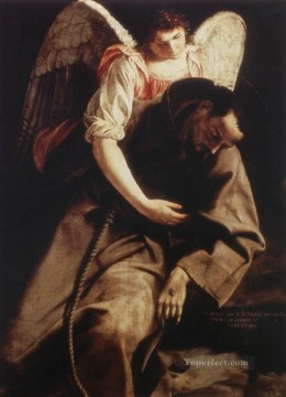 Orazio Gentileschi Painting - St Francis And The Angel Baroque painter Orazio Gentileschi
