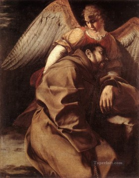 Orazio Gentileschi Painting - St Francis Supported By An Angel Baroque painter Orazio Gentileschi