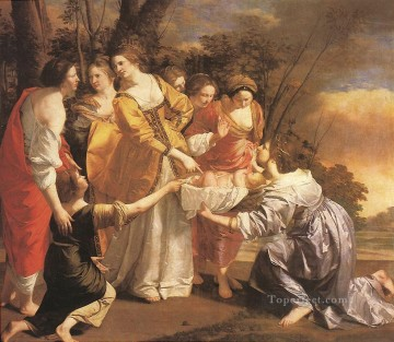 Orazio Gentileschi Painting - Finding Of Moses Baroque painter Orazio Gentileschi