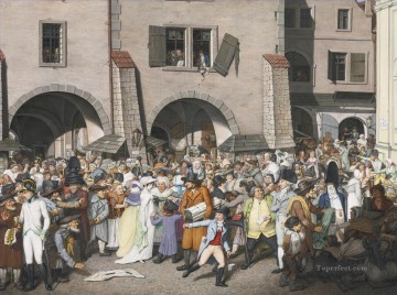 Emanuel Oil Painting - A BUSTLING MARKETPLACE PRAGUE Georg Emanuel Opiz caricature