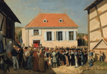 cat cats Painting - Dedication of a Synagogue in Alsace Georg Emanuel Opiz caricature