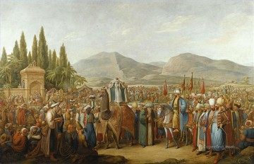 Emanuel Oil Painting - THE ARRIVAL OF THE MAHMAL AT AN OASIS EN ROUTE TO MECCA Georg Emanuel Opiz caricature