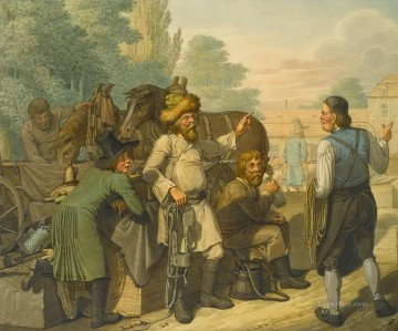 Emanuel Oil Painting - Tending to the Horses Georg Emanuel Opiz caricature