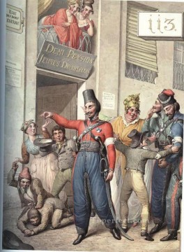 Emanuel Oil Painting - Cossacks in Paris 10 Georg Emanuel Opiz caricature