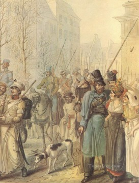 Georg Emanuel Opiz Painting - Cossacks in Paris 12 Georg Emanuel Opiz caricature