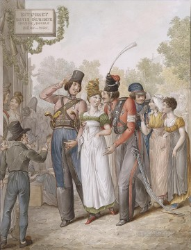 women Painting - Cossacks and Parisian Women Georg Emanuel Opiz caricature