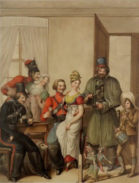 Emanuel Oil Painting - Cossacks in Paris 1814 Georg Emanuel Opiz caricature