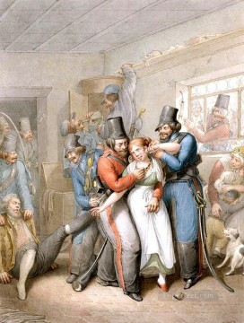 Georg Emanuel Opiz Painting - Cossacks raping woman Georg Emanuel Opiz caricature