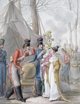 Georg Emanuel Opiz Painting - Courteous Scene Cossacks Offering the Armchair to Parisian Women Georg Emanuel Opiz caricature