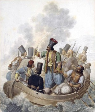 Emanuel Oil Painting - Scene from the War of independence depicting the Konstantinos Kanaris Georg Emanuel Opiz caricature