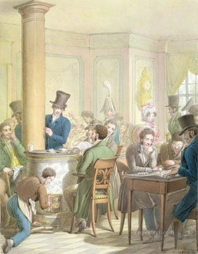 Georg Emanuel Opiz Painting - The Cafe de Commerce Georg Emanuel Opiz caricature