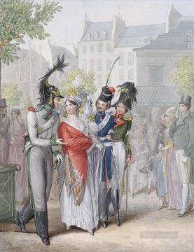 Emanuel Oil Painting - Two Ladies Accompanied by Russian Officers Georg Emanuel Opiz caricature